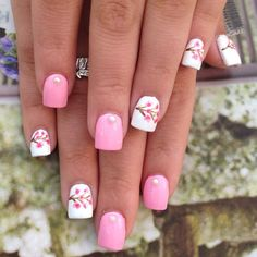 Pink mani with cherry blossom accent nails on white base nail art design