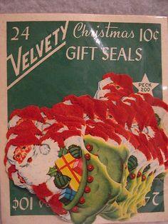 82 Vintage Sparkle & Velvety Christmas Package Gift Seals Tags Santa Bells (10/19/2013)