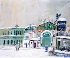 Maurice Utrillo The Moulin De La Galette On The Snow oil painting reproductions for sale