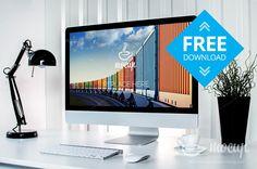 Free container 5k #mockup iMac retina