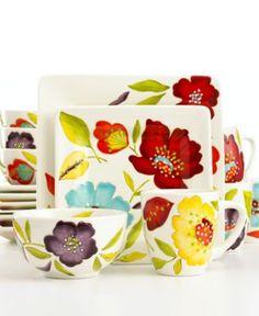 Laurie Gates Dinnerware, conjunto com flores coloridas