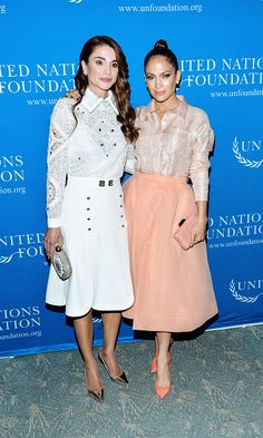 Dazzling duo! Queen Rania and Jennifer Lopez both looks radiant at the UN Foundation's Gender Equality Discussion at The Four Seasons Restaurant in NYC.  - HELLO! US