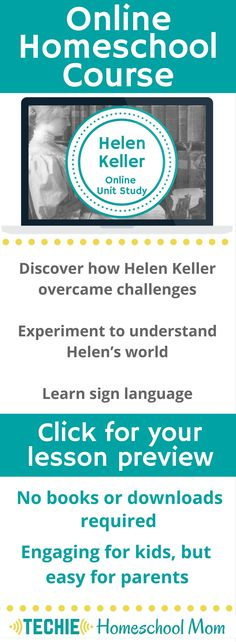 Try the Helen Keller Online Unit Study. This online homeschool course integrates multiple subjects for multiple ages of students. Access websites and videos and complete digital projects. With Online Unit Studies' easy-to-use E-course format, no additiona Online Math Courses, Mental Calculation, Learn Sign Language, Helen Keller, Homeschool Curriculum, Online Homeschooling, Math Skills, Fun Math, Unit Studies