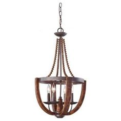 Feiss Adan 4-Light Rustic Iron/Burnished Wood Single-Tier Chandelier-F2753/4RI/BWD - The Home Depot