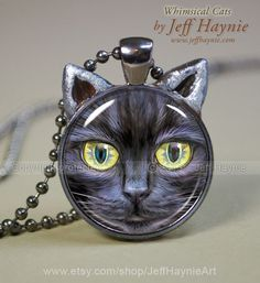 Black Cat Magic pendant Halloween necklace resin by JeffHaynieArt, $18.00