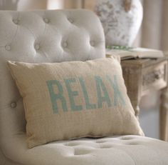 Sit back and take a deep breath with our Relax Burlap Pillow. The aqua text matches well with costal decor and the burlap fits in with rustic decor!