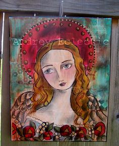 ORIGINAL Angel's Bouquet folk art painting