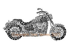 Motorcycle Harley Davidson Style Word Art Calligram ....for my honey!
