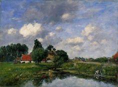 River near Dunkirk 1889 | Eugene Louis Boudin | Oil Painting #landsapes
