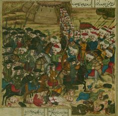 A battle between the Ottoman and Hungarian armies. Hamse (quintet) of the Ottoman Turkish poet and scholar 'Ata'ullah bin Yahyá 'Ata'i, copied and illustrated by Khayr Allah Khayri Jawush Zadah in Ottoman Turks, Muslim Culture, Ancient Near East, Effigy, Ottoman Empire, Paper Dimensions, Battle, Ottomans, History