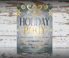 Christmas Party Invitation Digital Printable for any Occasion Silver and Gold tones. Great for the office or corporate party! $10.00 Click to purchase: https://www.etsy.com/listing/114824176/christmas-party-invitation-digital?ref=shop_home_active #partyinvitation #Christmas #holidaypartyinvite