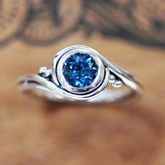 Pirouette ring - London blue topaz - recycled sterling silver - oxidized swirl ring-silver swirl ring, bezel engagement ring, unique engagem...