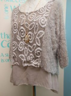 QUIRKY KNITTED WINTER LAGENLOOK LAYERING TOP SET IN LATTE FITS UK SIZES 12-16