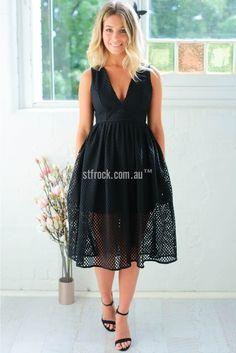 Alyssa Lace Dress in Black | St. Frock