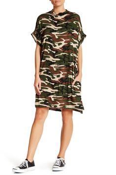 Mock Neck Jersey Shift Dress