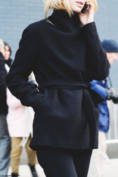 Elin Kling wearing a chic black jacket | New York Fashion Week Street Style | Fall Winter 2015