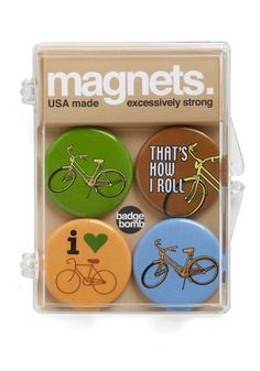 I miss riding my bike everywhere. Wish it wasn't so hilly here. Pedal to the Metal Magnet Set