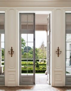 French Door Front Of House Interior Design.Distinctive Interiors One Light Clear Glass French Door . French Inspired Entryway With Arched Windows And Perfect . Home and Family Classic Interior, Home Interior Design, Interior And Exterior, Interior Doors, French Interior, Exterior French Doors, French Doors Patio, Interior Office, Home Modern