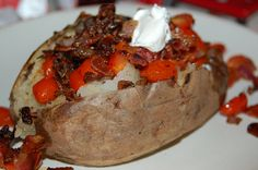 Baked potatoes to die for.  Use big potatoes and this makes a great main dish.  Or use small ones for a perfect side dish.
