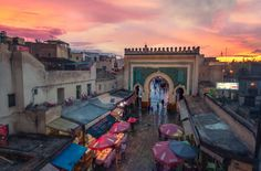 Beautiful sunset over a Moroccan souk.