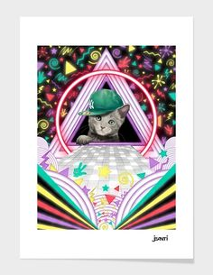 """Curioos.com   """"Chaton disco"""" by jeanti Limited Edition  - Gallery Quality Art Print"""