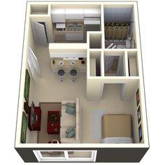 Studio, 1 & 2 Bedroom Apartments in Tampa - Floor Plans Small Apartment Layout, Studio Apartment Layout, Small Studio Apartments, Studio Apartment Decorating, Apartment Interior Design, House Layout Plans, House Layouts, Small House Plans, House Floor Plans