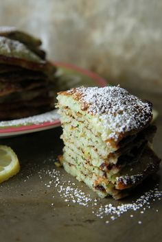 Lemon Zucchini Pancakes by heatherchristo #Pancakes #Lemon #Zucchini #Healthy