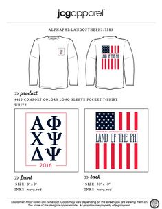 JCG Apparel : Custom Printed Apparel : Alpha Phi Land of the Phi T-Shirt #alphaphi #america #landofthefree #landofthephi #redwhiteandblue #starsandstripes #greek