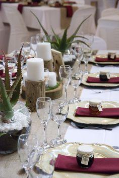 Gorgeous Farm Wedding. Wood and burlap with aloe centerpieces. Kilcairn #rusticvenue #farmwedding