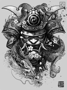 """Dragon Samurai"" Art Print by Elvin Tattoo on Artsider. Get the poster for… Backpiece Tattoo, Hannya Tattoo, Irezumi Tattoos, Tattoo On, Body Art Tattoos, New Tattoos, Tattoos For Guys, Cool Tattoos, Awesome Tattoos"