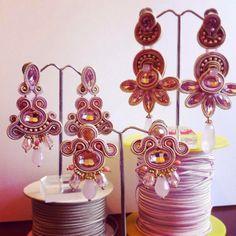 Laboratorium Adel w Soutache Pendant, Soutache Earrings, Soutache Tutorial, Rose Tea, Ribbon Embroidery, Shibori, The Incredibles, Pendants, Jewels