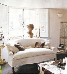 Sofa - Half Skirt similar to our couch love the dainty arm rolls and single seay cushion