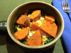 Yams, kale, corn, local soft cheese.... Your one-bowl dinner ready to eat--ummm! http://susanjtweit.com/2015/01/whats-cooking-one-dish-winter-dinner-recipe.html/