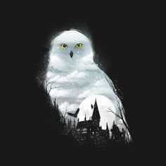 """""""Magical Winter Night"""" aka """"Magical Owl"""" by dandingeroz Inspried by Harry Potter, featuring Hedwig and Hogwarts Harry Potter Tumblr, Fanart Harry Potter, Harry Potter Kunst, Wallpaper Harry Potter, Arte Do Harry Potter, Harry Potter Drawings, Harry Potter World, Hedwig Harry Potter, Harry Potter Painting"""