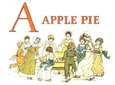 Kate Greenaway cover illustration from A Apple Pie An Old-Fashioned Alphabet Book
