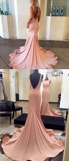 Pink Prom Dresses, Long Prom Dresses, 2018 Prom Dresses Trumpet/Mermaid, Scoop Neck Prom Dresses Jersey, Ruffles Prom Dresses Backless New Arrival
