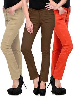 655a8eaee985 Multicoloured Solid Mid Rise Chinos ; Combo of 3 Chinos, Things To Sell,  Capri