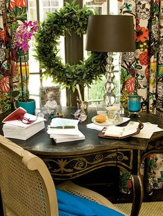 Love the desk and wreath