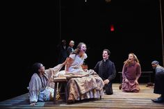 From left to right: Socorro Santiago (Tituba), Fabio Polanco (Thomas Putnam), Tracee Patterson (Ann Putnam), Elise Pakiela (Betty Parris), Ben Mehl (Reverend John Hale), Katie O. Solomon (Abigail Williams), and Ray Shell (Giles Corey). Photo Credit: Roger Mastroianni