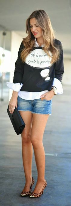 Daily New Fashion : Sweatshirt Top and Zara Shorts and Leopard Pumps.