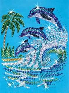 At Hobbies we stock a massive selection of Sequin Art beads craft kits. These can make great kids crafts and hobbys for adults. Sequin Crafts, Rhinestone Crafts, Mandala Art, Dolphin Craft, Marine Style, Cristal Art, Art Pierre, Dot Art Painting, Diamond Art