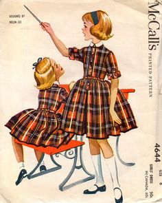 vintage 1958 girls DRESS mccalls sewing pattern 4644 size 6 helen lee PARTY full skirt shirtwaist RETRO mad men via Etsy.