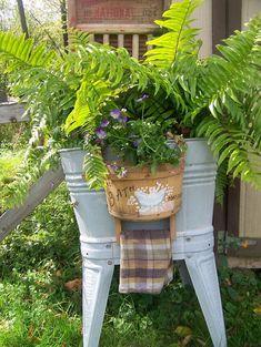 Fern Planters, Garden Planters, Planter Pots, Container Herb Garden, Flea Market Gardening, Wash Tubs, Love Flowers, Yard Art, Backyard
