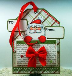 Art Impressions Rubber Stamps:  Santa Note-able (4512) handmade Christmas gift tag.