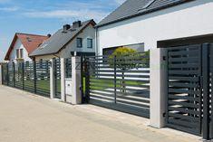 House Gate Design, Main Gate Design, Fence Design, Garden Fence Panels, Sliding Gate, Front Gardens, Black Fence, Front Fence, Modern Fence