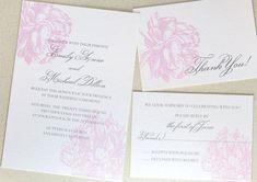 Printable Botanical Wedding Invitation Peony by encrestudio