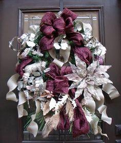 Luxurious Door Wreath - Eggplant Platinum