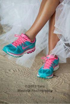 Tennis shoes in wedding dress