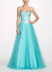 Sparkle from head to toe in this gorgeous teal ball gown! Strapless ball gown features ultra feminine sweetheart neckline and out-of-this-world shimmering cut glass bodice. Long full tulle skirt gives this dress the perfect princess feel. Fully lined. Back zip. Imported polyester. Dry clean. Also available in plus sizes as Style DB71W This neckline is shaped like the top of a heart and is flattering to the decolletage.The ball gown is a classic shape with a fitted bodice and very full skirt…