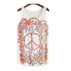 SheIn(sheinside) Multicolor Floral Letters Print Tank Top (650 RUB) ❤ liked on Polyvore featuring tops, multi color, white camisole, floral print top, white cami tank top, floral cami and summer tank tops